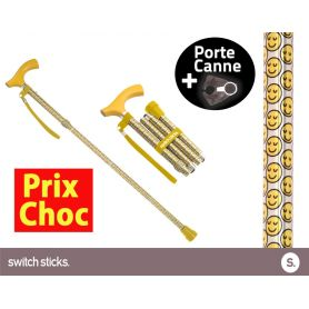 Canne pliante de marche Switch Sticks Smilies + Porte canne