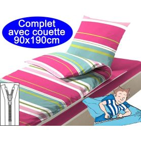Couchage avec couette 90X190 Rayures