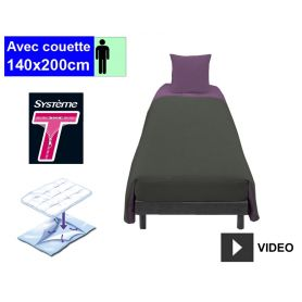 Kit Système T - Couchage avec couette - 1 pers. - Anthracite Figue