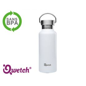 Gourde isotherme inox Qwetch 500ml - Blanche