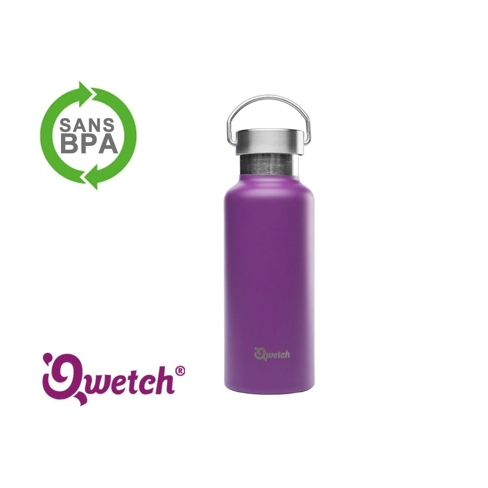 gourde isotherme inox qwetch 500ml mug thermos violette. Black Bedroom Furniture Sets. Home Design Ideas