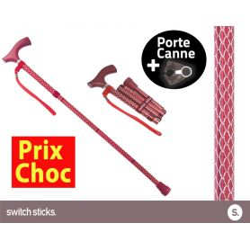 Canne pliante de marche Switch Sticks Rubis + Porte canne