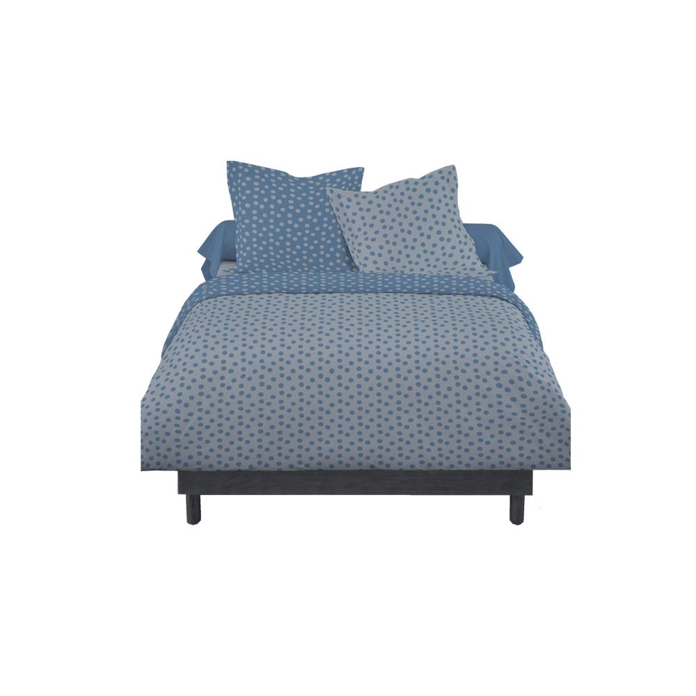 housse de couette zipp e mawira housse de couette facile 2 personnes 220x240cm pois bleu gris. Black Bedroom Furniture Sets. Home Design Ideas
