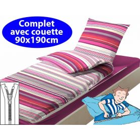 Couchage avec couette 90x190 Prune
