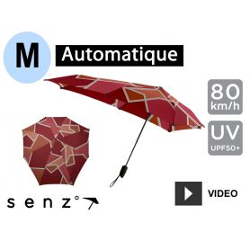 Parapluie tempête automatique anti-vent Senz Medium - Rouge quartiers