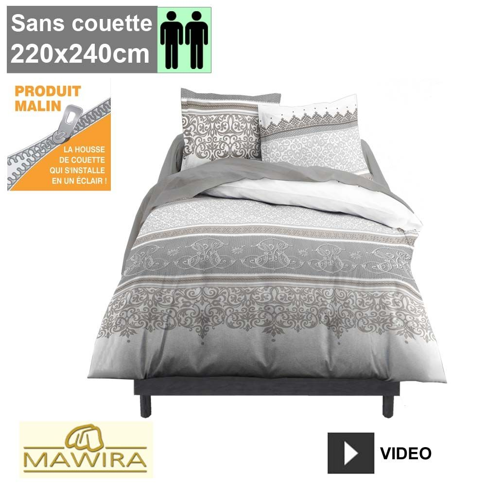 housse de couette zipp e mawira 2 personnes 220x240cm baroco. Black Bedroom Furniture Sets. Home Design Ideas