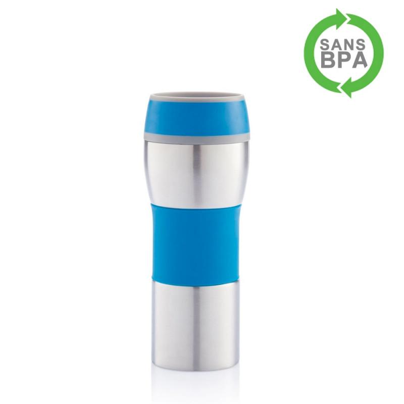 Mug isotherme fermeture par pression 400ml - bleu
