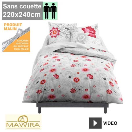 housse de couette zipp e mawira 2 personnes 220x240cm rosa. Black Bedroom Furniture Sets. Home Design Ideas