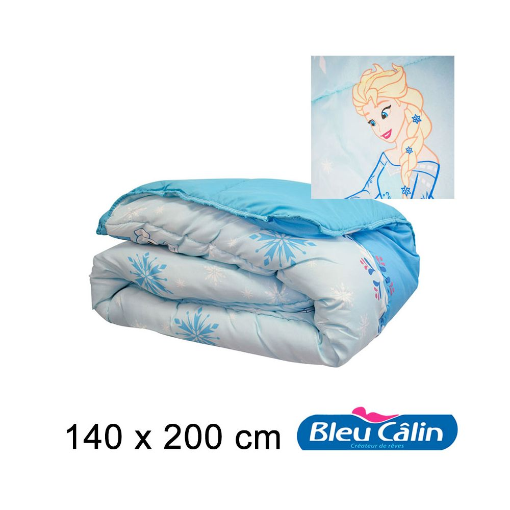 bleu c lin couette imprim e motif disney reine des neiges 140x200cm. Black Bedroom Furniture Sets. Home Design Ideas