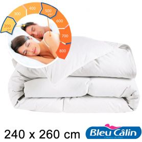 Bleu Câlin Couette couple double chaleur modulable 240x260cm