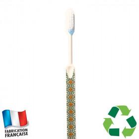 Brosse à dents écologique Caliquo - wax imprimé vert