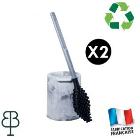 2 Brosses WC anti goutte grises
