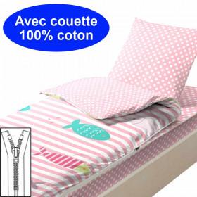 Couchage avec couette 90x190 Poissons