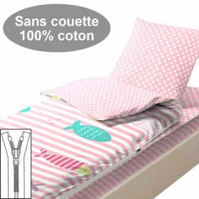 Couchage sans couette 90x190 Poissons