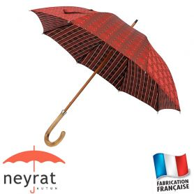 Parapluie long rouge carreaux/rayures