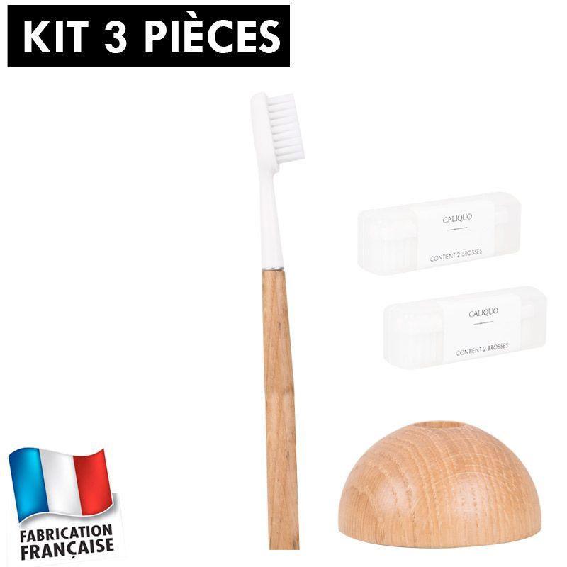 Kit brosse à dents réutilisable Caliquo chêne