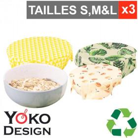 3 couvre-bols réutilisables Yoko Design