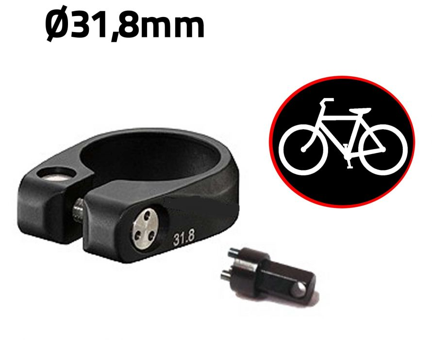 antivol v lo pour selle de v lo collier de selle diam tre 31 8mm anti vandale pour bicyclette. Black Bedroom Furniture Sets. Home Design Ideas
