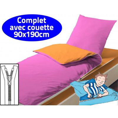 Couchage avec couette 90X190 Orange