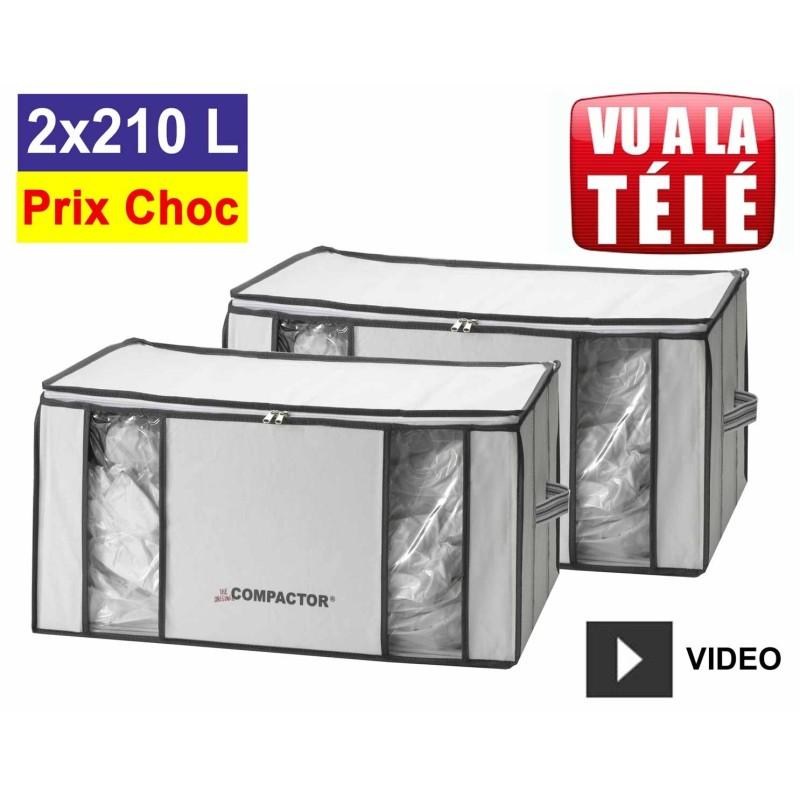 Promo Compactor 2 Housses Rangement Sous Vide Xxl 210l Lots Pas Chers