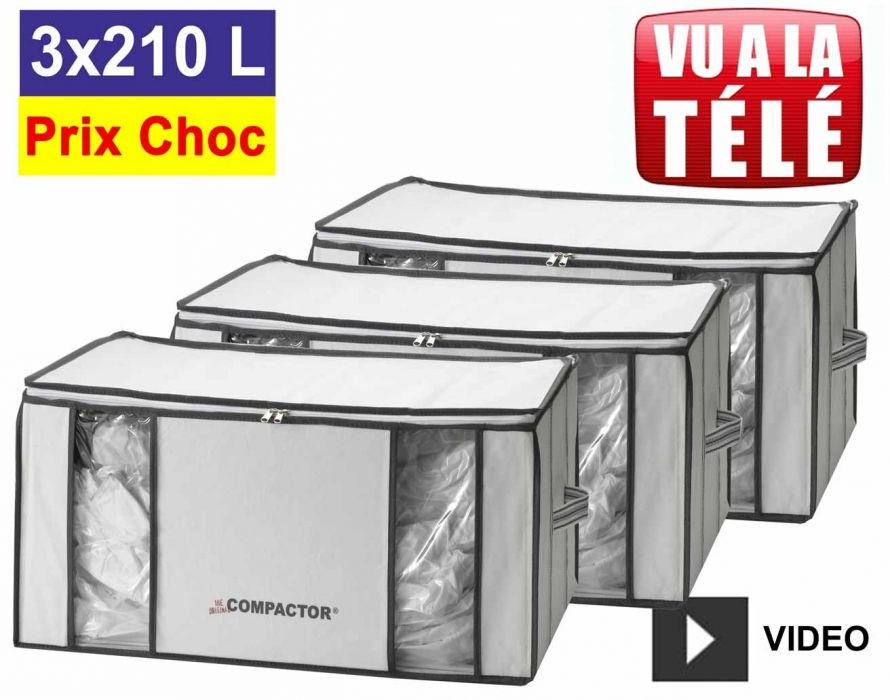 promo compactor lot de 3 housses compactor 210 litres xxl compactor rangement sous vide pas cher. Black Bedroom Furniture Sets. Home Design Ideas