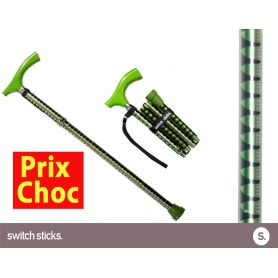 Canne pliante de marche fantaisie - Switch Sticks Pepa Verte