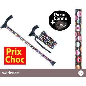 Canne pliante de marche Switch Sticks Bulles + Porte canne