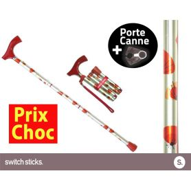 Canne pliante de marche Switch Sticks Coquelicots + Porte canne