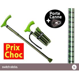 Canne pliante de marche Switch Sticks Pepa Verte + Porte canne