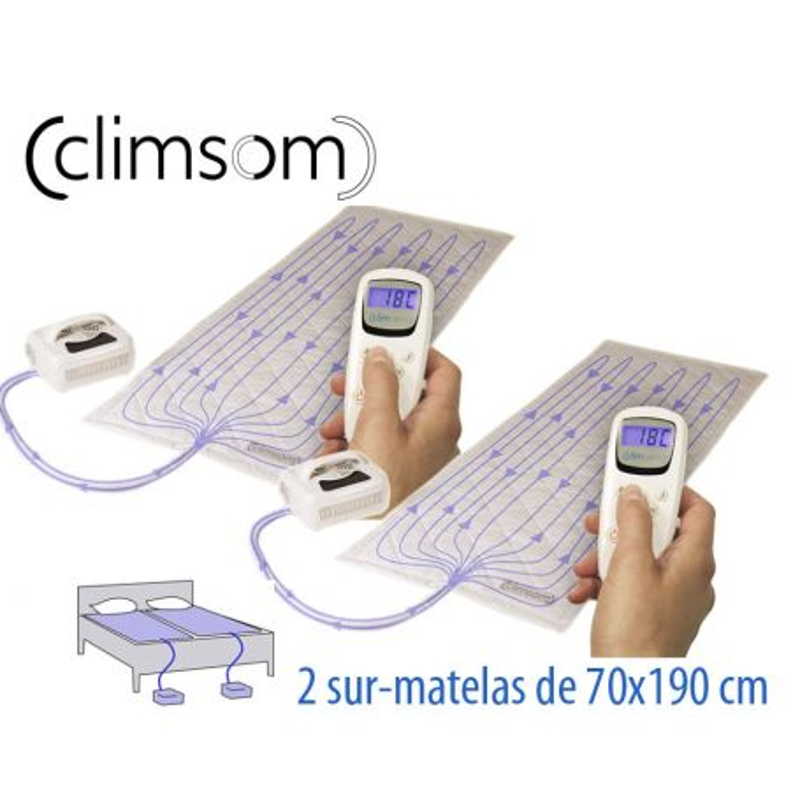 2 Sur-matelas rafraîchissants Climsom 70x190