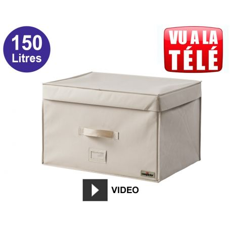 compactor coffre gain de place sous vide 150 litres beige compactor rangement sous vide. Black Bedroom Furniture Sets. Home Design Ideas