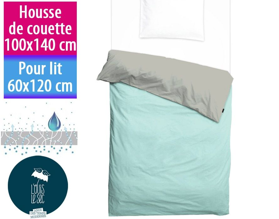 housse de couette enfant imperm able 100x140cm linge de lit louis le sec bicolore. Black Bedroom Furniture Sets. Home Design Ideas