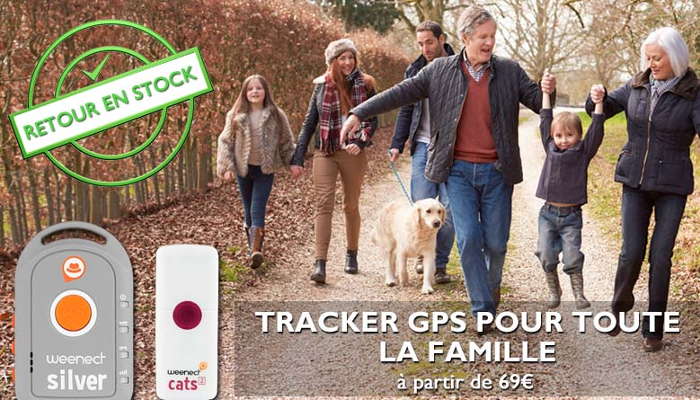 Tracker GPS Weenect pour enfants, seniors, chiens, chats