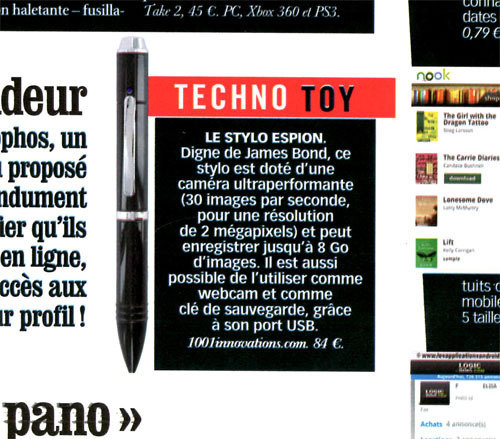 stylo espion camera embarquée 8Go - article dans VSD