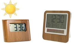 Nouveautés produits écologiques et solaires : 4 réveils et horloges solaires en bambou