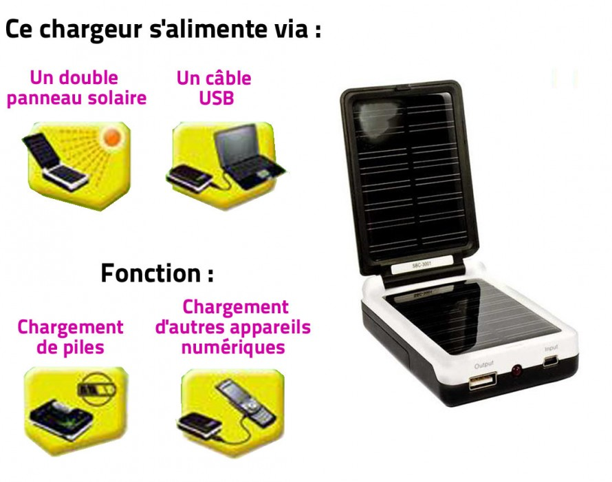 chargeur solaire pile type c