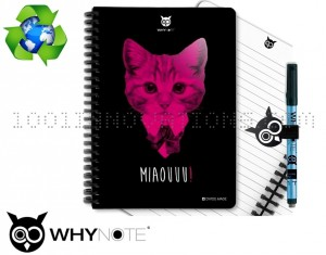 Kit WhyNote A5 bloc notes réutilisable avec couverture chat