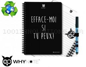 Kit WhyNote avec bloc note réutilisable et couverture efface moi si tu peux